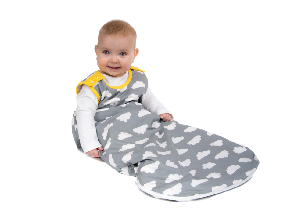 Babasac Multi Tog Sleeping Bag Clouds With Yellow Trimthe Baby Sleep